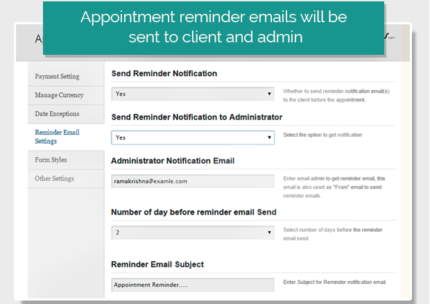 Send Reminder Emails to Clients & Admin for Appointments