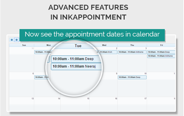 View Appointment Dates in Calendar