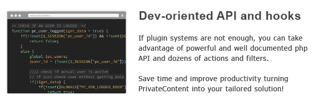 Dev-oriented API and hooks