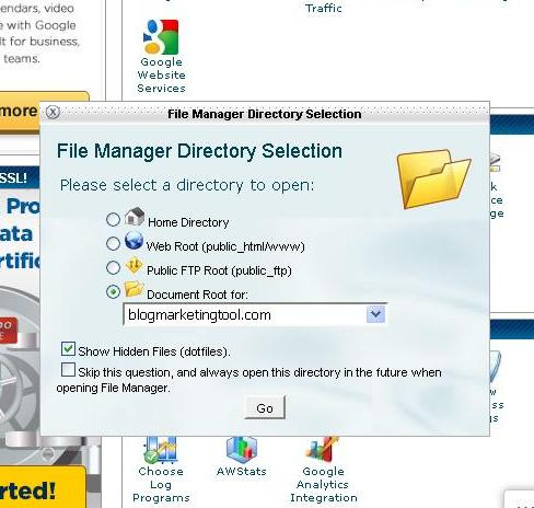File manager directory selection dialog box