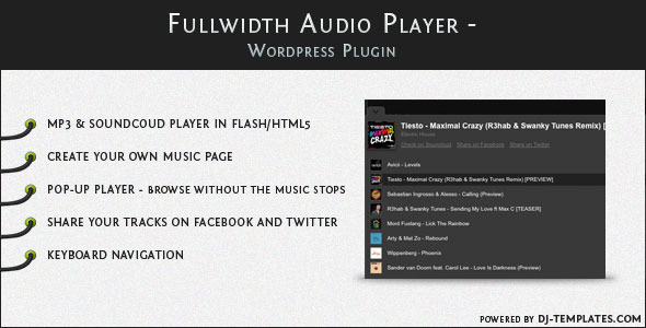 Fullwidth Audio Player - Wordpress plugin 1
