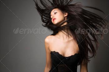 Woman flinging long hair 1