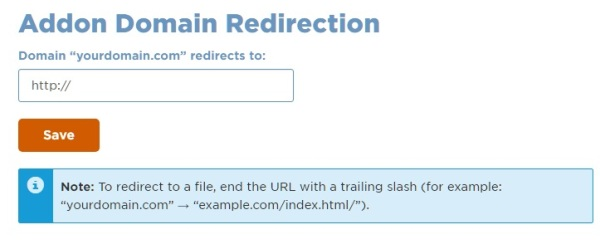 Addon domain redirections