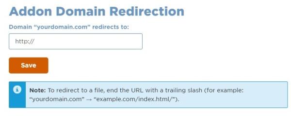 Addon domain redirections