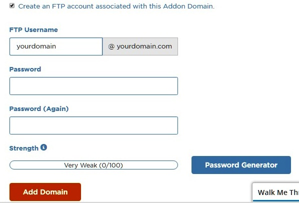 Create an FTP account associated with Addon Domain