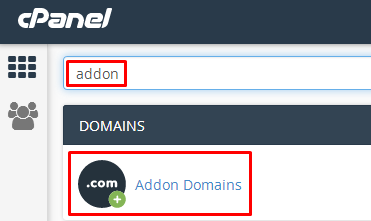 addon domain in cpanel