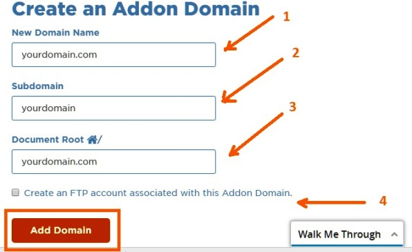 create an addon domain